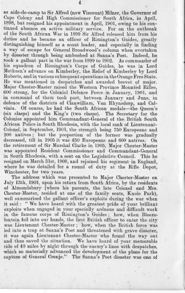 Page 4 of In Memoriam booklet produced on the death of  Lieutenant  Colonel Chester Master. (Gloucestershire Police Archives URN 2328)