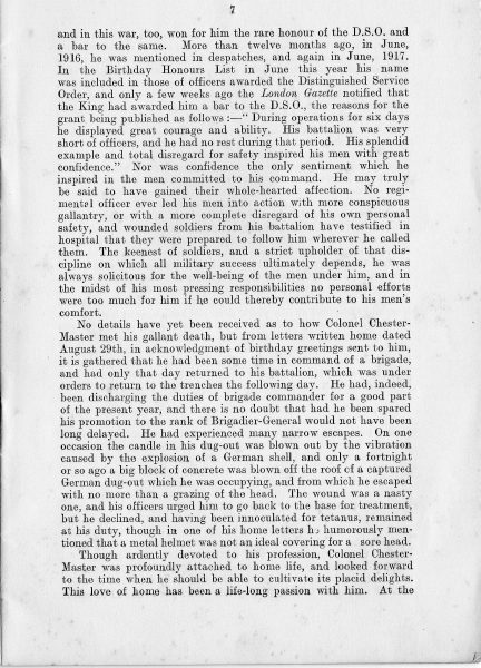 Page 9 of In Memoriam booklet produced on the death of  Lieutenant  Colonel Chester Master. (Gloucestershire Police Archives URN 2333)