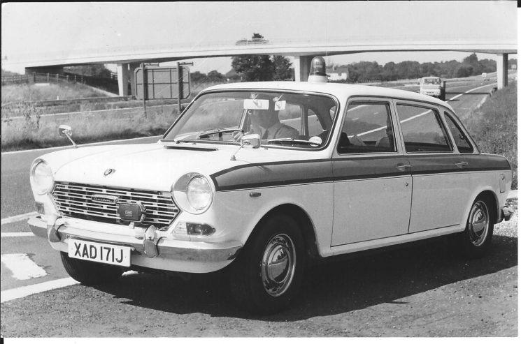 Motor Patrol Car, Austin 1800 XAD 171 J driven by Police Sergeant 555 Ken Hudman. (Gloucestershire Police Archives URN 2455)
