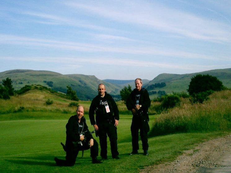 The G8 Summit held at Gleneagles Scotland, where officers from all over the UK supplied Firearms and auxiliary staff to assist. Police sergeant 1336 John Taylor, Officer from Greater Manchester   Police Constable Glen Mitchell and Police Constable Ted Green. (Gloucestershire Police Archives URN 2366) | Photograph from John Taylor