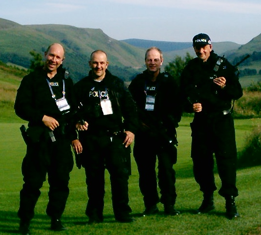 The G8 Summit held at Gleneagles Scotland, where officers from all over the UK supplied Firearms and auxiliary staff to assist. John Taylor, Glen Mitchell, Ted Green and  Mike Smith from Tayside police. (Gloucestershire Police Archives URN 2365) | Photograph from John Taylor