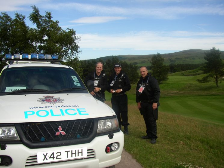 The G8 Summit held at Gleneagles Scotland, where officers from all over the UK supplied Firearms and auxiliary staff to assist. Ted Green Mike Smith and Glen Mitchell. (Gloucestershire Police Archives URN 2358) | Photograph from John Taylor
