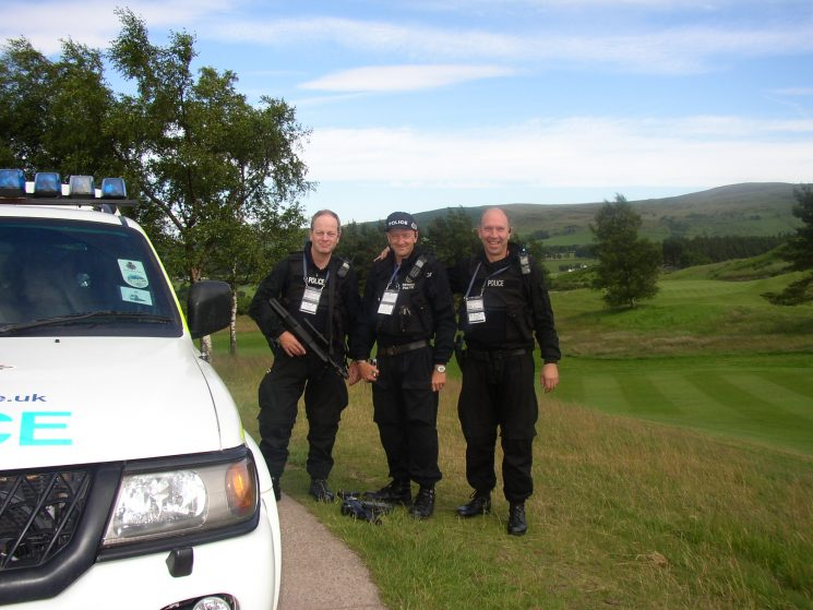 The G8 Summit held at Gleneagles Scotland, where officers from all over the UK supplied Firearms and auxiliary staff to assist.Ted Green, MikeSmith and  John Taylor. (Gloucestershire Police Archives URN 2357) | Photograph from John Taylor