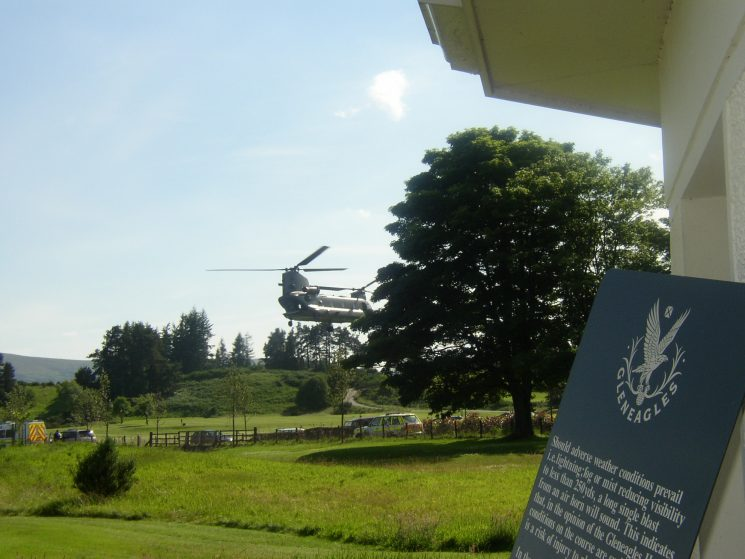 The G8 Summit held at Gleneagles Scotland, where officers from all over the UK supplied Firearms and auxiliary staff to assist.Chinook taking off at Gleneagles. (Gloucestershire Police Archives URN 2355) | Photograph from John Taylor