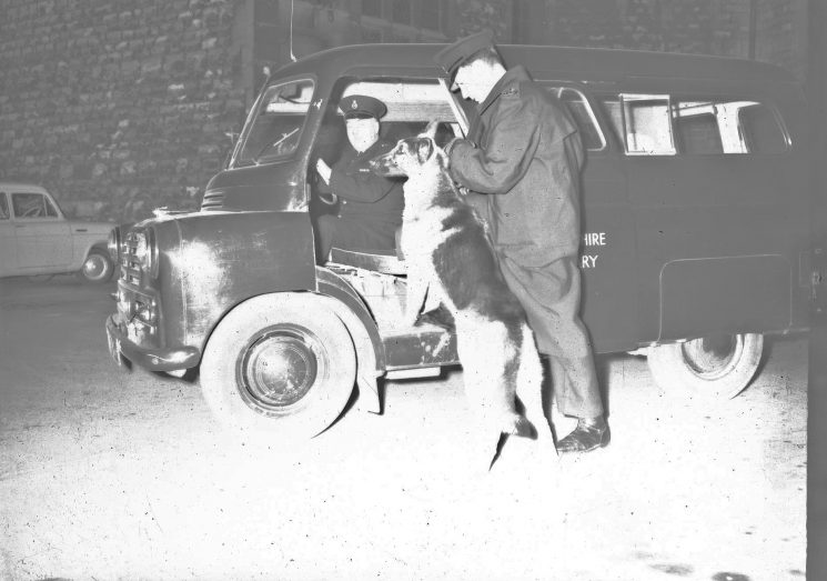 Police Officers, police dog and police van.(Gloucestershire Police Archives URN 2483) | Photograph from an old negative