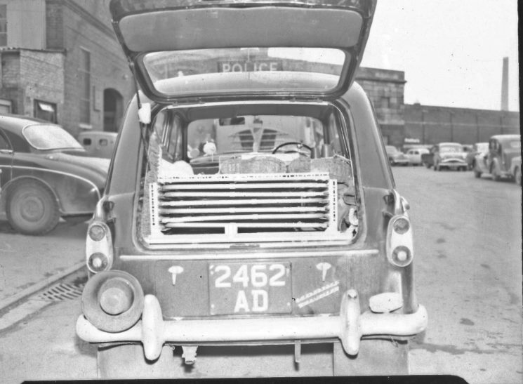 Equipment in the back of patrol car. (Gloucestershire Police Archives URN 2482) | Photograph from an old negative