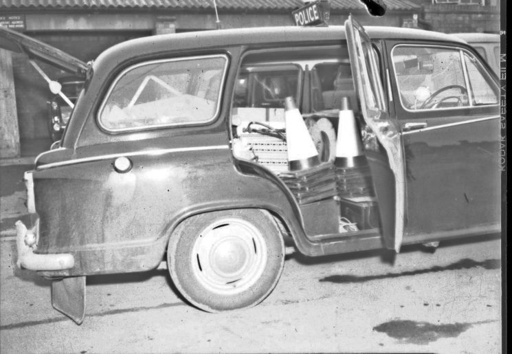 Equipment in the back of patrol car. (Gloucestershire Police Archives URN 2481) | Photograph from an old negative