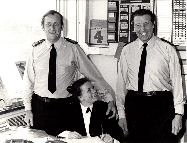 Sergeant Dave Stevens Police Constable  Ron Pearce and unknown Woman Police Constable in Radio Room, possibly Cheltenham, circa 1980 (Gloucestershire Police Archives URN 1937-1)   Photograph from Graham Stevens