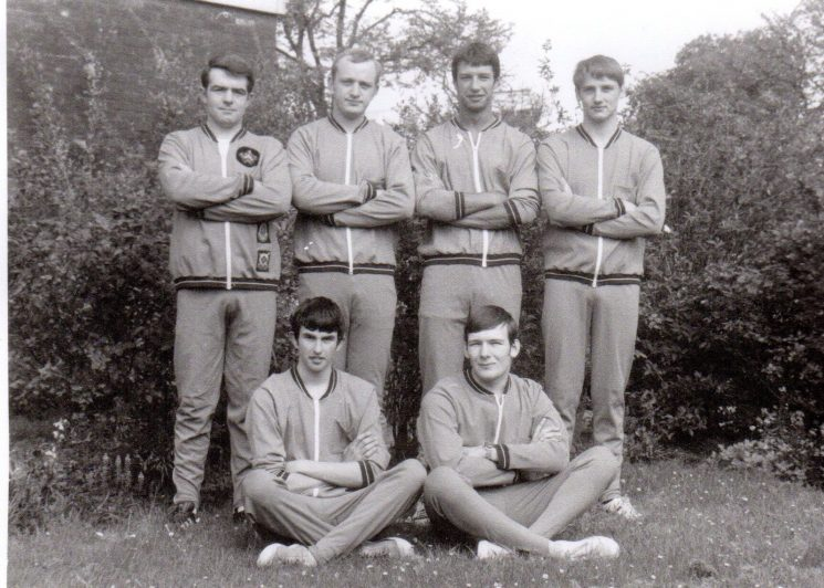 Cadet Life Saving Team 1975. Standing from left to right; Police Sergeant Chris Phillips; Stephen Penny; Robert Coltman; David Stalker. Seated: Aiden Green; Steven Parker. (Gloucestershire Police Archives URN 2390)