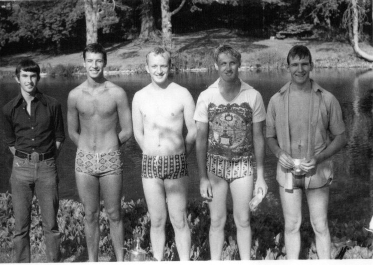 Cadet Life Saving team 6th June 1975. Left to right: Aiden Green.Robert Coltman;  Stephen Penny;  David Stalker;  Steven Parker; (Gloucestershire Police Archives URN 2387)