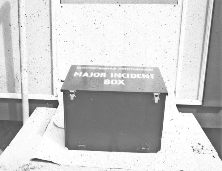 Major incident box. (Gloucestershire Police Archives URN 2467) | Photograph from an old negative