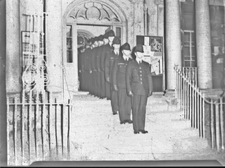 Officers on parade on the steps of Cheltenham Police Station, Crescent Place. (Gloucestershire Police Archives URN 2465) | Photograph from an old negative