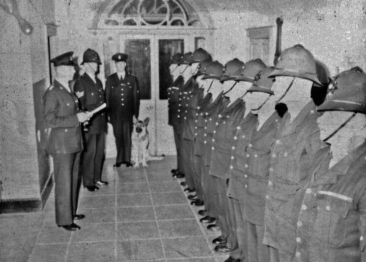 Officers on parade in Cheltenham Police Station, Crescent Place. (Gloucestershire Police Archives URN 2464) | Photograph from an old negative