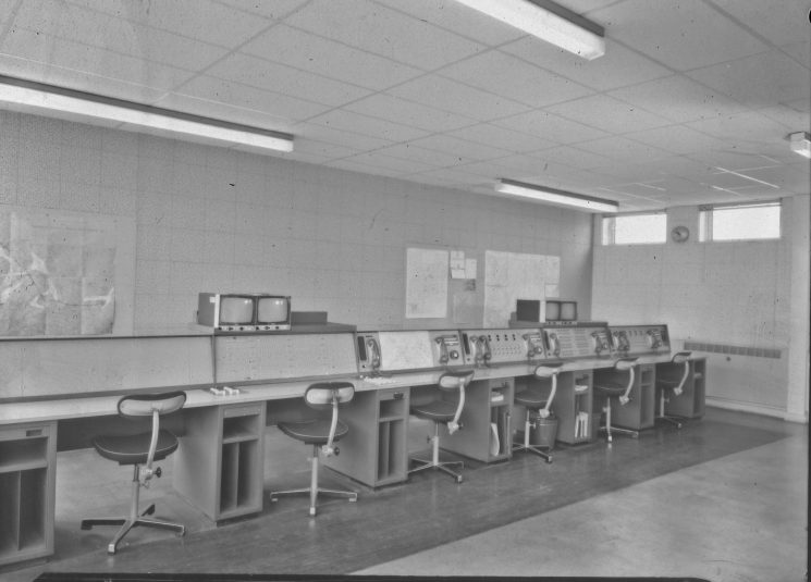 Brand new Almondsbury Motorway and Severn Bridge Control Room.(Gloucestershire Police Archives URN 2461) | Photograph from an old negative