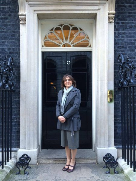 2016, Police Constable 38 Bee Bailey, at 10 Downing Street, representing trans police. Day 1 giving guidance to the Home Affairs Select Committee. For the Diversity in Police Report. (Gloucestershire Police Archives URN 2574) | Photograph from Bee Bailey