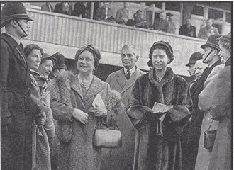 Police Constable Dick Button at Cheltenham Races 1956 with Her Majesty the Queen and the Queen Mother. (Gloucestershire Police Archives URN 2706)