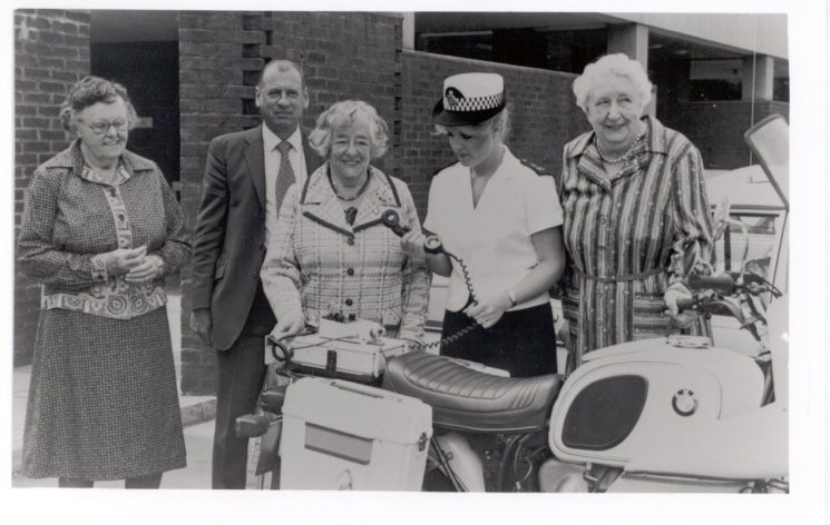 From left to right; Former Woman Police Sergeant Margery Herbert, Superintendent W Stapleforth,  former Woman Police Edith Yeoman. Woman Police Constable Rosalind Edwards,  former Woman Police Constable Rosa Ashby, (Gloucestershire Police Archives URN 308)