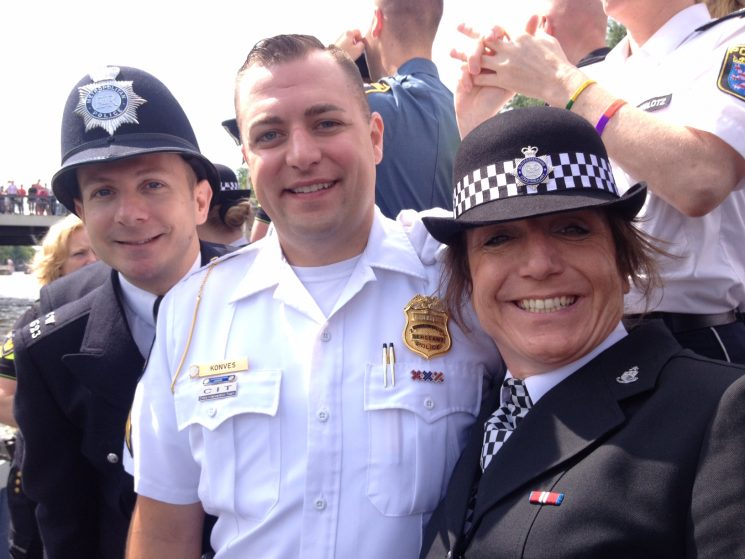 Pride Boat Parade 2016 in Amsterdam.  Only 70 people of all those who attended were selected to be on the boat. (Gloucestershire Police Archives URN 2523) | Photograph from Bee Bailey