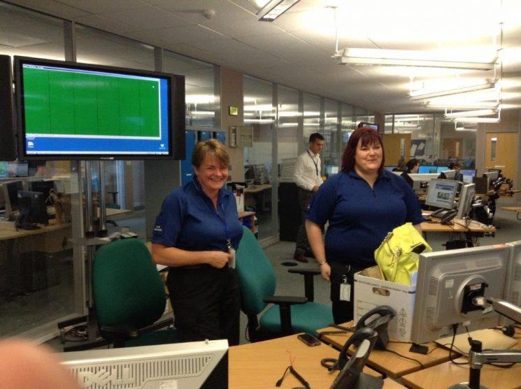 Force Control Room September 2013 Karen Robertson on left Vanessa Warren on right. (Gloucestershire Police Archives URN 2636)