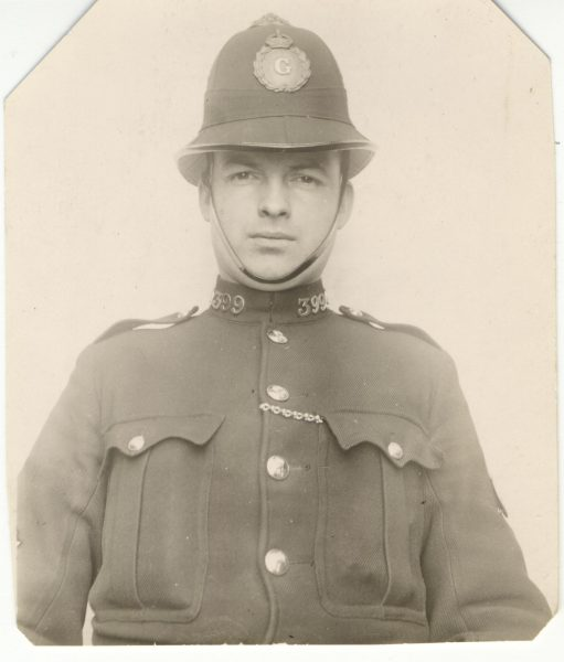Police Constable 399. this could be Frank Morgan who served 1900-15 or Ernest Towell who served from 1918-27. (Gloucestershire Police Archives URN 2648)