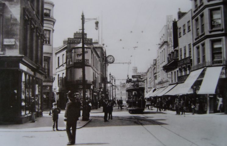 Police officer on Cheltenham High Street. Tram the only vehicle in sight. (Gloucestershire Police Archives URN 2614)