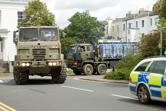 Army Trucks bringing drinking water complete with police escort.(Gloucestershire Police Archives URN 2607)