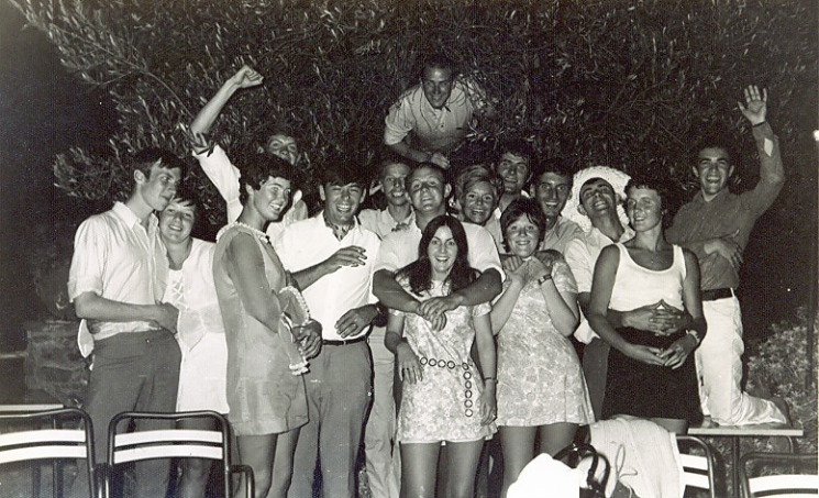 Cadets in Spain 1970. John Pittaway, Diana Gibbs, Pam Murphy, Steve Radburn, Police Constable John Creed, Francis Johnson, Mrs  Pam Creed, Nick Churchill , Phil Cowdry  (in the tree), John Fidler, (Police Constable Dick Griffiths current girlfriend) , Cathy Searle, unknown , Police Constable Dick Griffiths ( Training Staff) , Steve Taylor, Nicky Hawkins, Mike Owen. (Gloucestershire Police Archives URN 5923) | Photograph from Nick Churchill