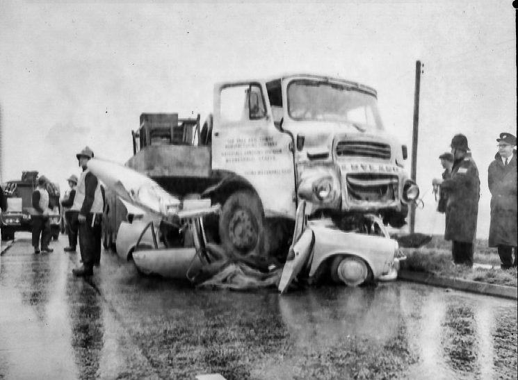 Accident between lorry and car. (Gloucestershire Police Archives URN 2796) | Photograph from an old negative