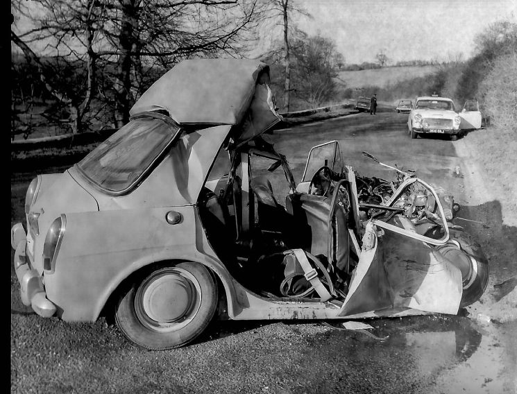 Police car at scene of accident (Gloucestershire Police Archives URN 2786) | Photograph from an old negative