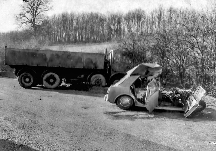 Accident involving a car and a lorry (Gloucestershire Police Archives URN 2788) | Photograph from an old negative