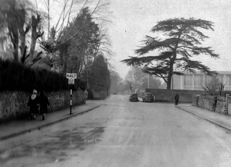 Accident involving a car and an AA patrol. he junction of the Cirencester Road, Moorend Road. and Lyefield Rd West, Charlton Kings. (Gloucestershire Police Archives URN 2790) | Photograph from an old negative