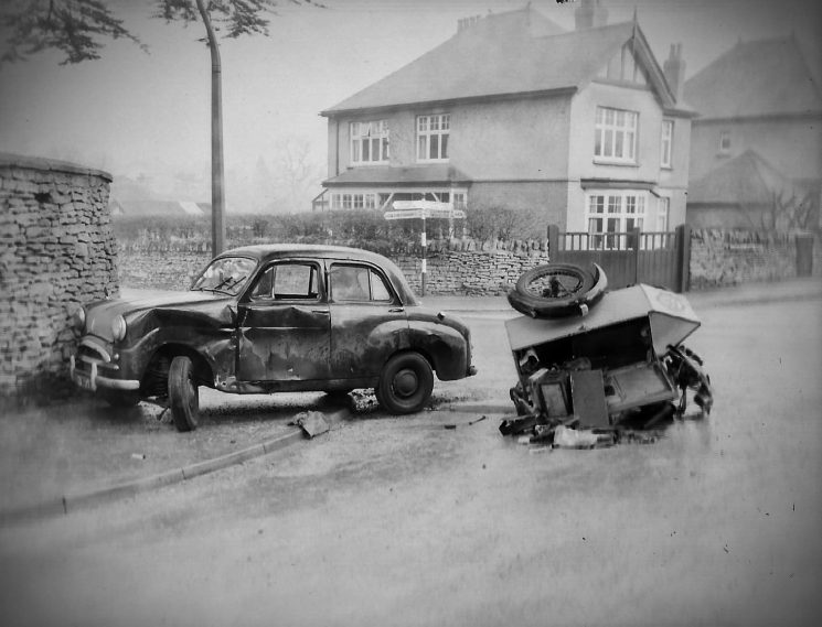 Accident involving a car and an AA patrol. he junction of the Cirencester Road, Moorend Road. and Lyefield Rd West, Charlton Kings. (Gloucestershire Police Archives URN 2791) | Photograph from an old negative