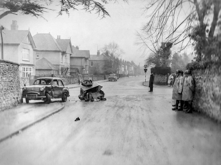 Accident involving a car and an AA patrol. he junction of the Cirencester Road, Moorend Road. and Lyefield Rd West, Charlton Kings. (Gloucestershire Police Archives URN 2792) | Photograph from an old negative