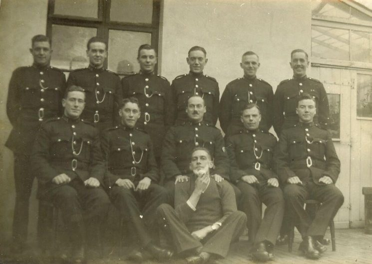 Group of Constables Thought to be at Lydney Back row Left to right : unknown; Kenneth Fairbanks; unknown; Henry Drinkwater; Front row left to right : Joe Reeks; unknown; Jack Squires; Albert Carter; J McKnight. Seated on on floor - unknown Joe Reeks served 1936-1966 Henry Drinkwater 1936-1966 (Gloucestershire Police Archives URN 1688)