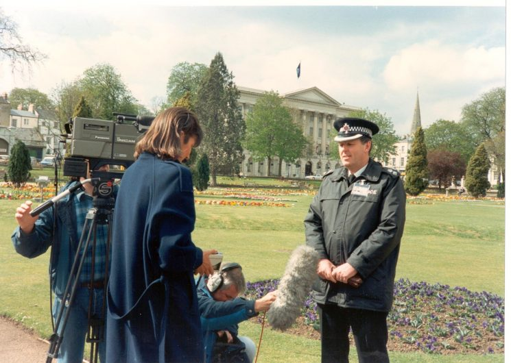 Chief Superintendent Kenneth Daun being interviewed (Gloucestershire Police Archives URN 528-7)