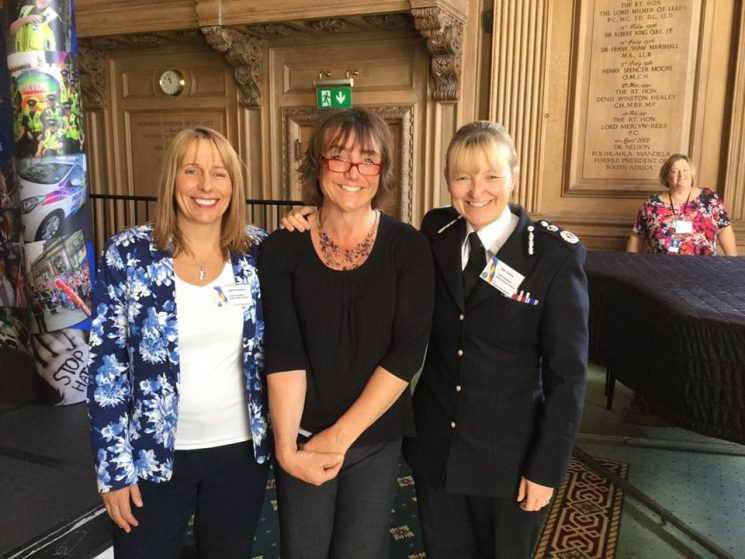 Bee Bailey with Chief Constables Jane Sawyers and Dee Collins National LGBT Conference Leeds 2017 (Gloucestershire Police Archives URN 6030) | Photograph from Bee Bailey