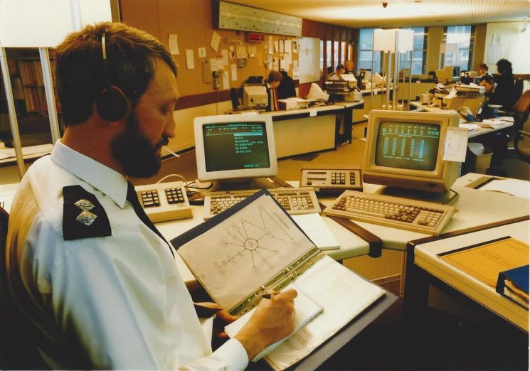 Inspector Wayne Freeth-Selway in control room thought to be 1992. (Gloucestershire Police Archives URN 6036) | Photograph from Wayne Freeth-Selway