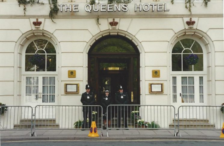Conservative Conference Cheltenham 1990,  three  officers guard the entrance to The Queens Hotel. (Gloucestershire Police Archives URN 6053) | Photograph from Wayne Freeth-Selway