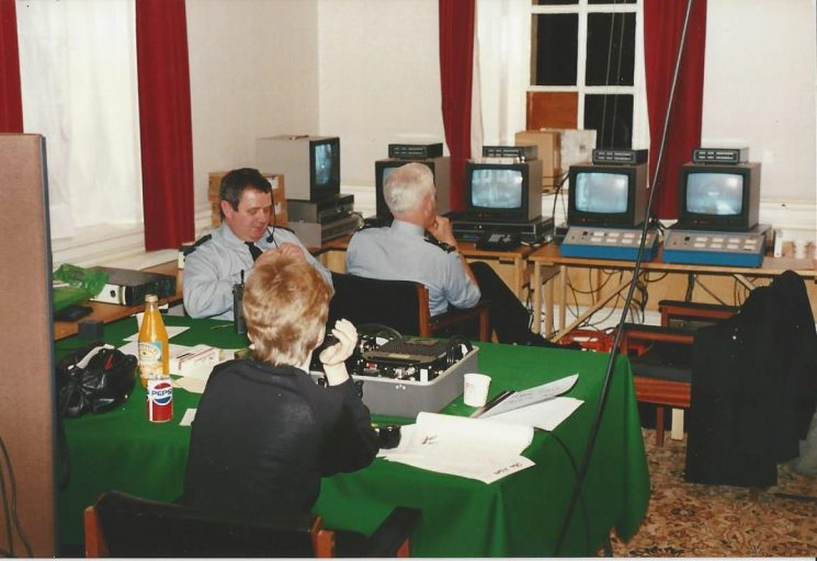 Conservative Conference Cheltenham  1990  - temporary Closed Circuit Television control room established in Cheltenham  Town Hall (Gloucestershire Police Archives URN 6055)   Photograph from Wayne Freeth-Selway