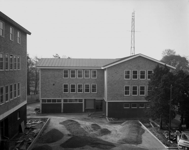 Talbot House (Cheltenham Divisional Headquarters) at the time of building the new block for canteen, print-room, uniform stores, Scenes Of Crime  office (Gloucestershire Police Archives URN 1092 (1) )