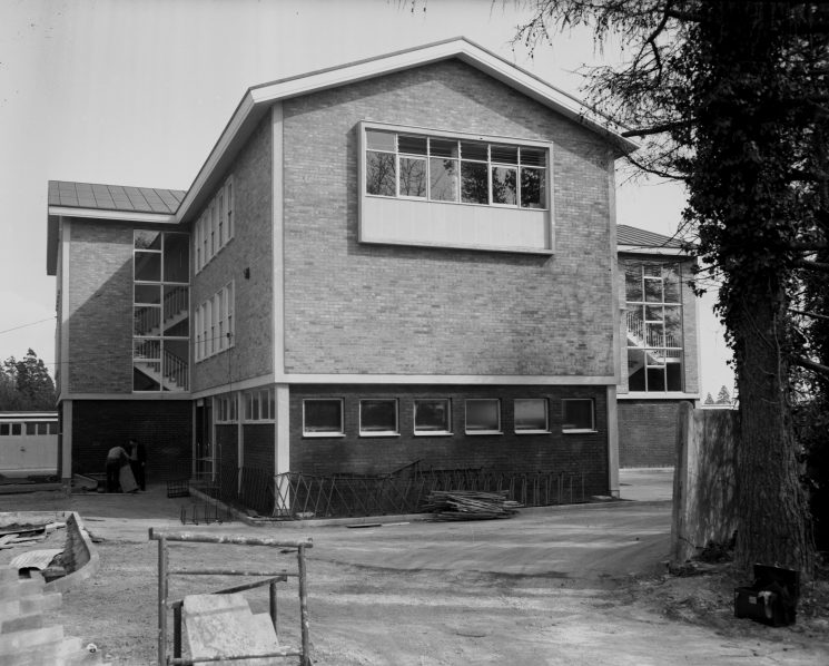Talbot House (Cheltenham Divisional Headquarters) at the time of building the new block for canteen, print-room, uniform stores, Scenes Of Crime  office (Gloucestershire Police Archives URN 1092 (2) )