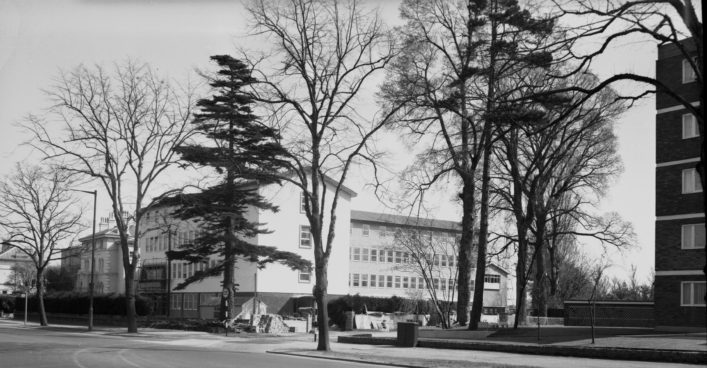 Talbot House (Cheltenham Divisional Headquarters) at the time of building of new block. (Gloucestershire Police Archives URN 1092 (5))