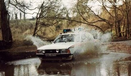 Ford Granada HDG 407V Water Splash crewed by Simon Mills and Mike Jacka (Gloucestershire Police Archives URN 6070) | Photograph from Simon Mills
