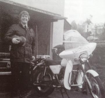 BSA B25 Fleet Star Motorcycle 1972. Police Constable Neil Thomas at Ruspidge. (Gloucestershire Police Archives URN 3679 )