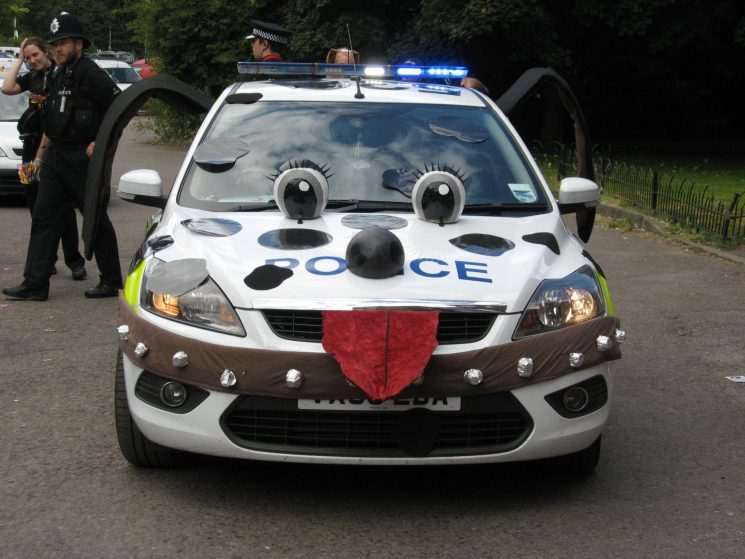 Ford Focus from the dog section decorated as a dog at Paws on Patrol in Gloucester Park 2012 (Gloucestershire Police Archives URN 3684 )