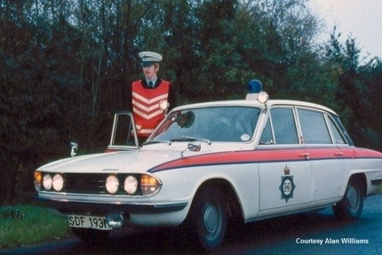 Triumph 2.5 with driver Police Constable Alan Williams 1975. (Gloucestershire Police Archives URN 3704) | Photograph from Alan Williams
