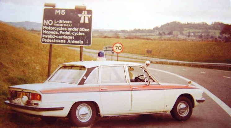 Triumph 2.5 on M5 slip road 1974 (Gloucestershire Police Archives URN 6074)