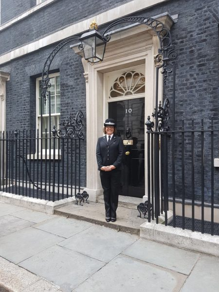 Bee Bailey at 10 Downing Street on Wednesday the 19th of July 2017  to celebrate her  LGBT works nationally and internationally. (Gloucestershire Police Archives URN 6085)