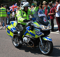 BMW RT 1200 motorcycle on Olympic Torch escort duties for the London Olympics 2012. (Gloucestershire Police Archives URN 6069)