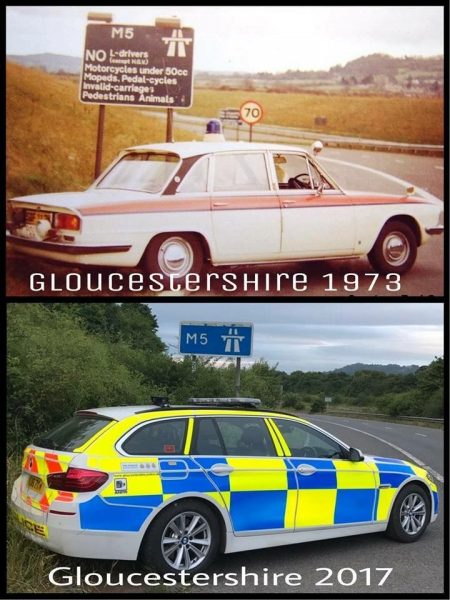 Comparison photo of vehicle in 1973 and 2017 on the same slip road of the M5 (Gloucestershire Police Archives URN 6080)